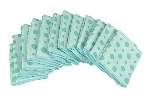 DII Bulk Pack Microfiber Cleaning Cloths, 12 by 12-Inch, Teal Dots, Set of 12