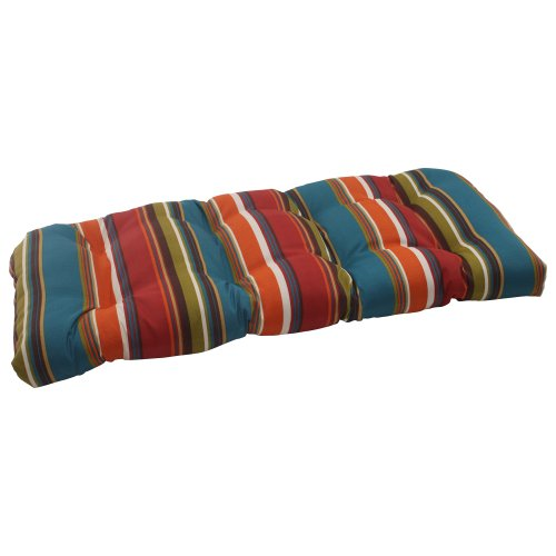 Pillow Perfect Indoor/Outdoor Westport Wicker Loveseat Cushion, Teal