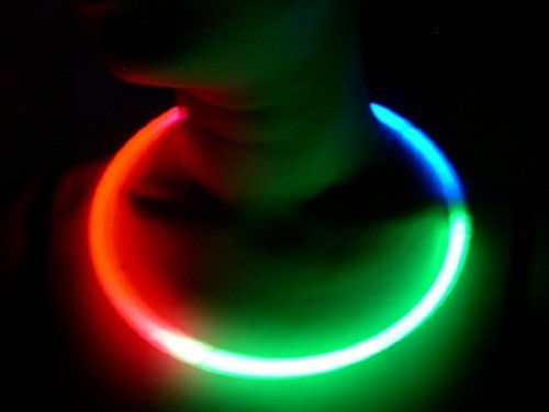 100 Glow With Us Brand 22 TRI-color (RED-GREEN-BLUE) Glow Sticks Necklaces Bulk Wholesale Pack w/ FREE 100 Assorted Glow Bracelets