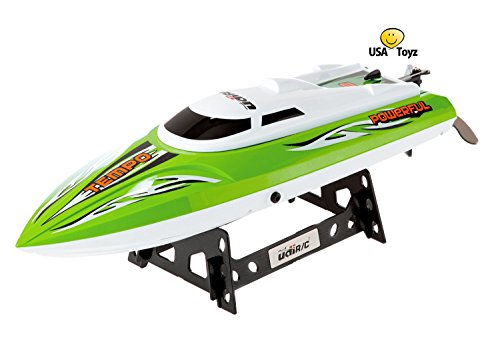 UDI002 Tempo Remote Control Boat for Pools, Lakes and Outdoor Adventure - 2.4GHz High Speed Electric RC - includes BONUS BATTERY (*Doubles Racing Time*) - Green