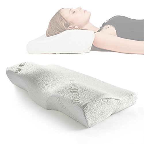 Sleep Memory Foam Contour Pillow-Therapeutic & Ergonomic Design for Neck Pain-Hypoallergenic & Washable Fabric Bamboo Cover-Oversized Bed Pillow(24.4×14×4.3)