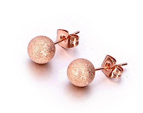 Girls Women Rose Golden Ball Stainless Steel Fashion Stud Earrings 7.0 mm 1/4 Inch Round