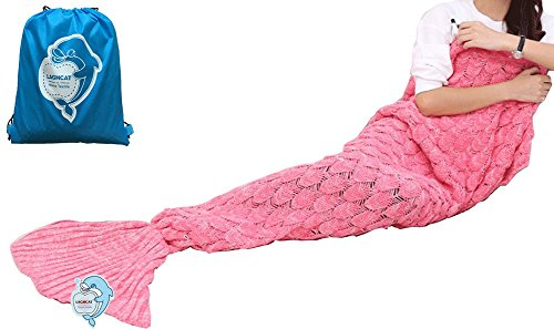 LAGHCAT Mermaid Tail Blanket Knit Crochet and Mermaid Blanket for Adult,Sleeping Blanket (71x35.5, Scale-Fresh Pink)