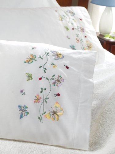 Bucilla Stamped Embroidery Pillowcase Pair 20X30-Butterflies In Flight