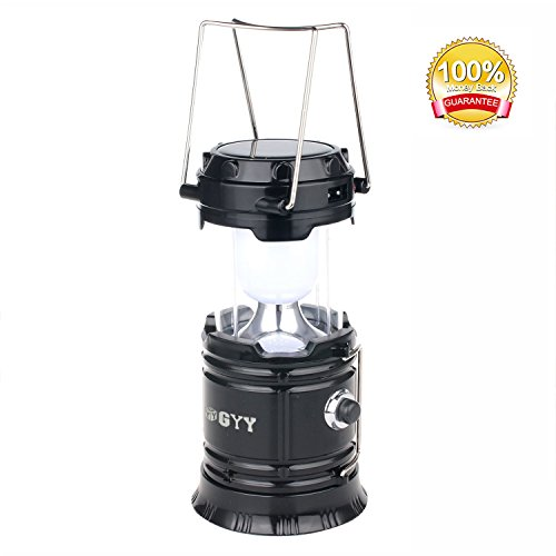 3 In 1 Solar Rechargeable Collapsible Portable LED Camping Lantern Flashlight for Home Fishing Hiking Backpacking (Black, Small)