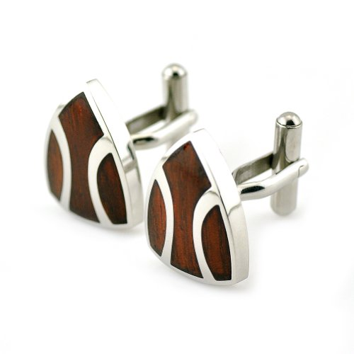 PenSee Rare Stainless Steel & Red Wood Shield Cufflinks for Men with Gift Box