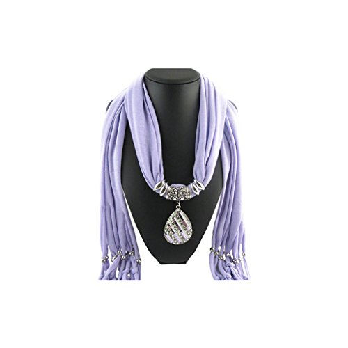 Purple Scarf Shawl in Silver Butterfly with Studded Crystals Diagonal Teardrop Shape Pendant Choker