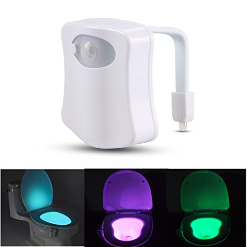 SOLMORE LED Toilet Light Motion Activated Sensor Bathroom Washroom WC Night Light with 8 Color Changing