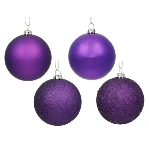 Vickerman 163245 - 2.4 Purple Shiny Matte Glitter Sequin Ball Christmas Tree Ornament (24 pack) (N590606)