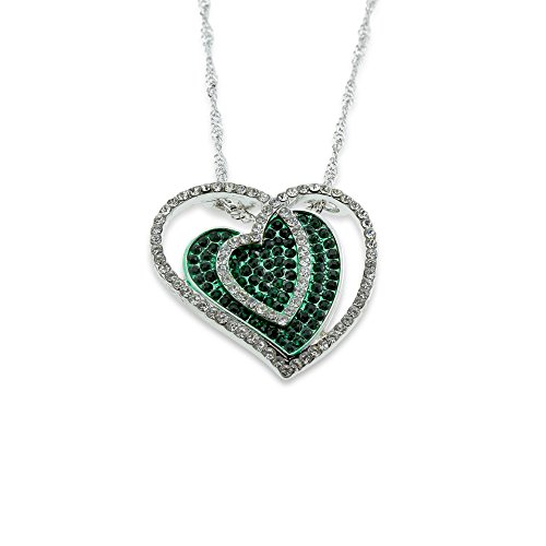 Iced Out Crystal Green Pendant Heart Necklace - Perfect Jewelry Gift for Women Mom Wife on Mother's Day