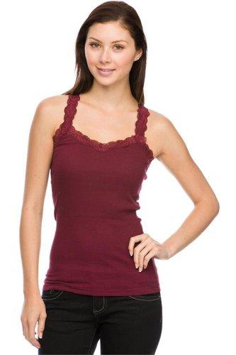 Women's Lace Trim Cotton Jersey Spaghetti Strap Camisole Tank Top