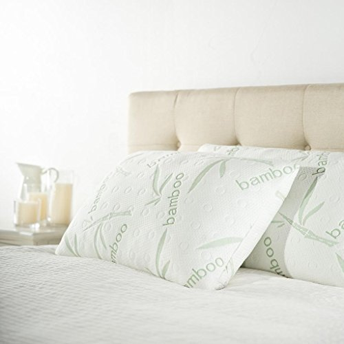 Zinus Ultima Shredded Memory Foam Classic Pillow with Bamboo Cover-Set of 2