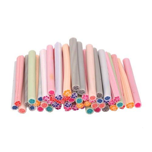 50pcs Cute 3D Design Nail Art Nailart Manicure Hibiscus & Rose Fimo Canes Sticks Rods Stickers Gel Tips Decoration