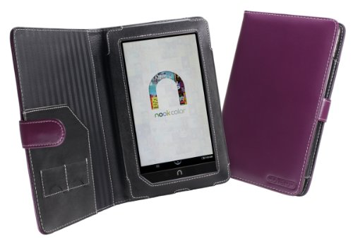 Cover-Up Barnes and Noble Nook Color / Nook Tablet Leather Case Book Style - Purple