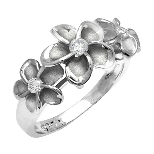 Hawaiian Three Plumeria Ring in Sterling Silver with CZ