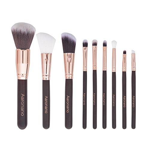 Professional Makeup Brushes (Set of 9) - Foundation Blending Blush Eyeliner Face Powder Brush - Soft Bristle & Ultra Skin-Friendly   by Aaronano