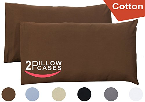 Queen Pure-Cotton Pillow Case Covers - (2-Pack, each 20 inches x 30 inches, Dark Brown) 100% Cotton for Maximum Softness and Easy Care, Elegant Double-Stitched Tailoring - By Utopia Bedding
