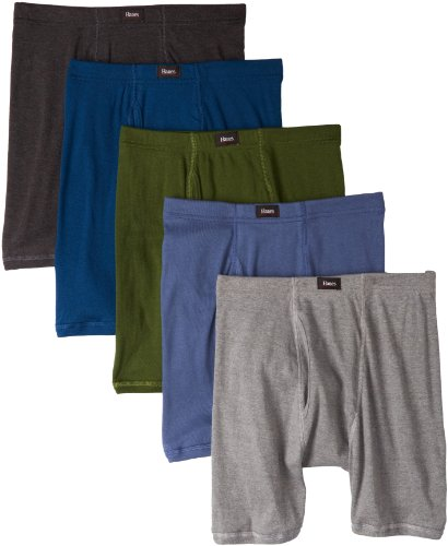 Hanes Men's 5 Pack Ultimate Comfort Soft Waistband Boxer Briefs, Assorted Colors