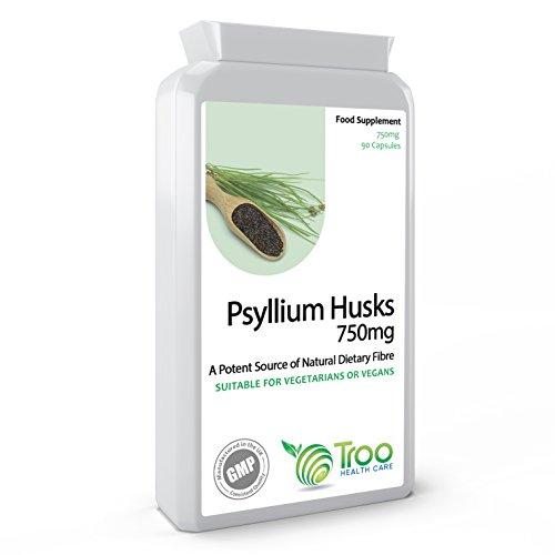 Psyllium Husks 750mg x 90 Capsules - Natural Dietary Fibre for Colon Cleansing & Bowel Health