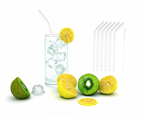 iZEEKER Clear Bent Premium Glass Straw .6 Set of Milk Furit Juice Smoothie Coffee Cheese Straw; Party Drinking Straws; Offer Free Cleaning Brush;No BPA,Non-Toxic,Fun,Resuable,Eco-Friendly