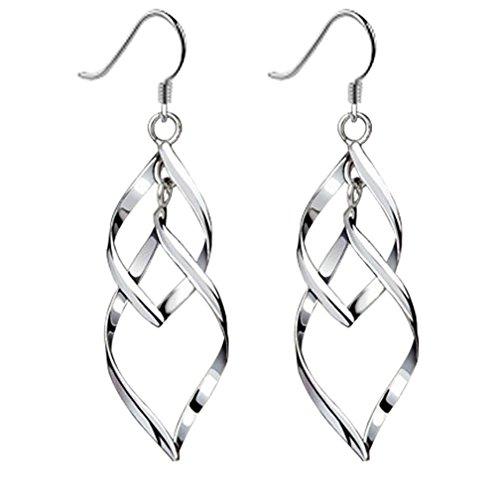 Bassion Women's Classic Double Linear Loops Design Silver Earrings