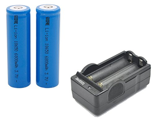 2Pcs GOODFIRE 18650 3.7V 6800mAh Lithium Ion Parallel Battery with dual Charger