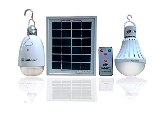 SMADZ SL21A 4 in 1 LED Lamp Kits - Solar Lamp x 12 LEDs / Water Powered Lamp x 18 LEDs -Dimmable Function with an infrared remote control-Solar Barn / Camping / Emergency Light