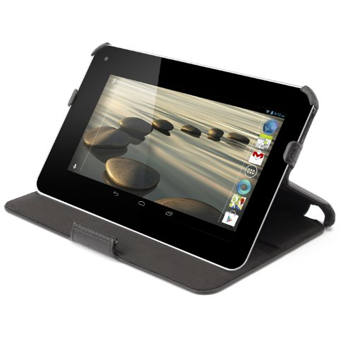 Premium Leather Case Cover with Hand Grip and Multi-angle Smart Stand for Acer Iconia B1-710 7 Tablet - Color Black