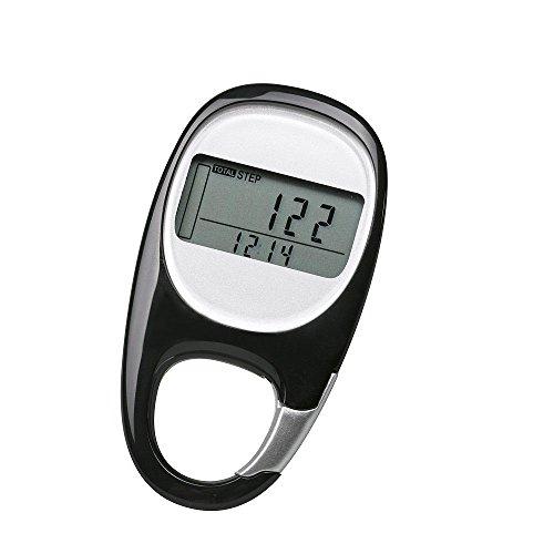 PINGKO 3D Carabiner Walking Pedometer Best Activity Fitness Tracker, Black
