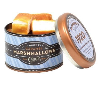Mitchell Sweets Caramel Marshmallows, 6 Oz Gift Basket Tin, Hammonds Candy, Hand Made