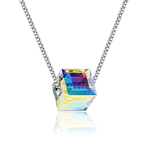 Cat Eye Jewels S925 Sterling Silver Inlay Inlay Sugar Color Austria Cube Swarovski Crystal Necklace 16 Chain with Extended Chain