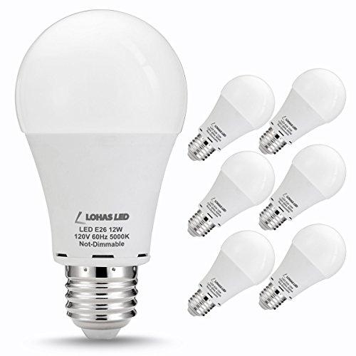LOHAS® LED Bulb, 75W Light Bulbs Equivalent (12W LED), A19 LED Bulbs, Daylight (5000k) LED Globe Bulb, 240 Degree Beam Angle, Medium Screw Base (E26), 1080Lm LED Lights for Home Lighting(6 Pack)