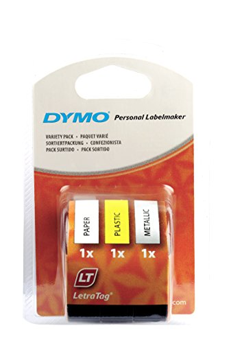 Dymo S0721800 LetraTag Starter Multipurpose Label Tape, 12 mm x 4 m, 3 Rolls - Black Print on Yellow/Silver/White