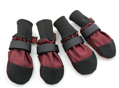 Muttluks Woof Walkers 3.25-Inch to 3.75-Inch Dog Boots, Medium, Burgundy, Set of 4