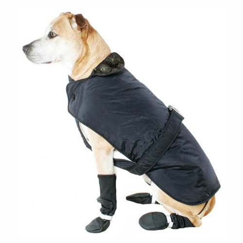 Muttluks 3-Layer Belted Winter Dog Coat, Size 28, Black