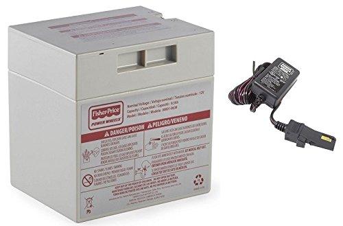 1 X Gray 12V Power Wheels Battery + 12 Volt Gray Charger w/ Probe 00801-1480