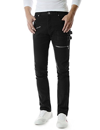(TLP23) Mens Slim Stretchy Flat Front Zipper Deco Side Buckle Patch Cotton Pants
