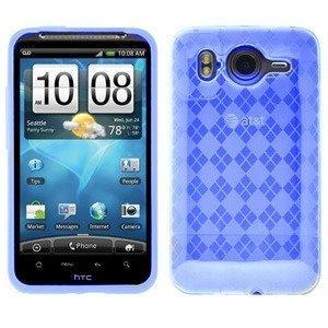 Blue Cruzer Argyle High Gloss TPU Soft Gel Skin Case - For HTC INSPIRE / DESIRE HD