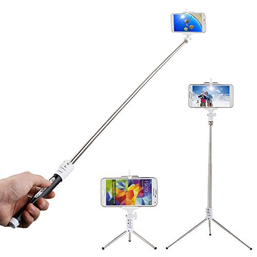 e Stick with Remote Shutter and Telescopic Tripod Self Portrait Self Timer Bluetooth Monopod Hand Grip for Samsung Galaxy S3 S4, Note 2 3, iPhone 6 5s 5c 5 4s , HTC one M7 M8 Mini - Detachable and Assembled, Support Zoom In or Zoom Out Function(Black)