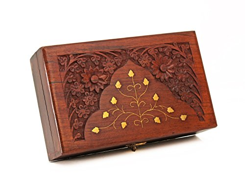 Decorative Wooden Jewelry Box Keepsake Storage Organizer with Floral Carving & Brass Inlay