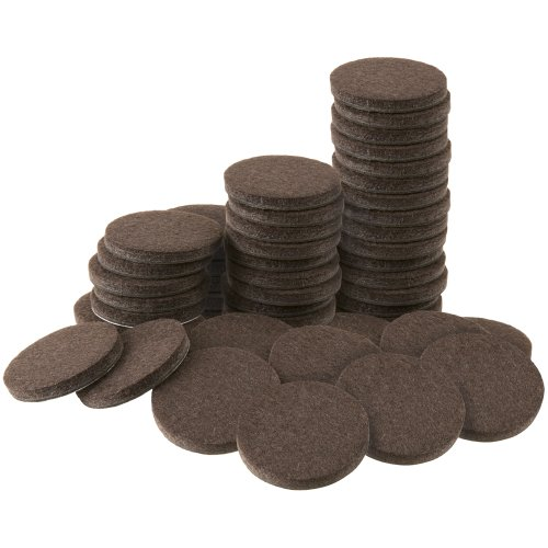 Self-Stick 1 Furniture Felt Pads Value Pack for Hard Surfaces (48 piece) - Brown, Round