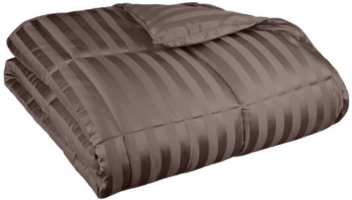 Oversized All-Season Luxurious Wide Stripes Down Alternative Comforter, King, Charcoal