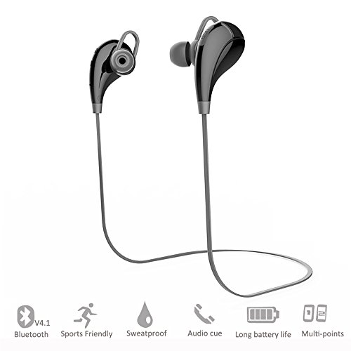 Bluetooth Headphones,Amicool 4.1 Wireless Sport Earbuds Stereo Earphones, Noise Cancelling Headset with Mic for Smartphones Bluetooth Devices (Black)