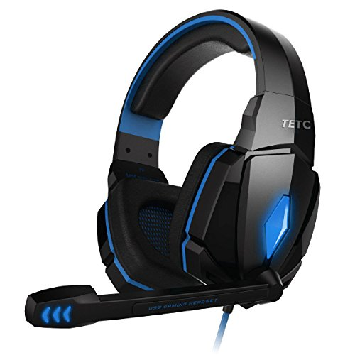 IMUSIC Blue G4000 Professional 3.5mm PC Gaming Stereo Noise Canelling Headset Headphone Earphones with Volume Control Microphone HiFi Driver For Laptop Computer