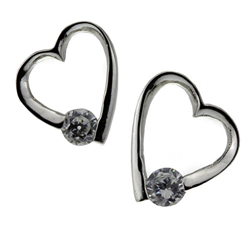 Cubic Zirconia Crystal Nickel Free Heart Sterling Silver Earring for Women Girl Teen Christmas Birthday