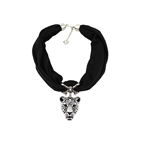Black Adjustable Chain Heart Short Scarf in Silver Bow with Vintage Charm Elegant Studded Crystals Leopard Head Pendant with