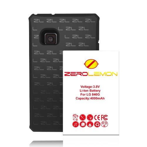 [180 Days Warranty] Zerolemon LG 840G 4000mah Extended Battery + Free Black Extended TPU Full Edge Protection Case - World's Highest 840G Battery Capacity - Black