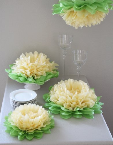 Paper Flower Pom (Set of 7) Color: Yellow