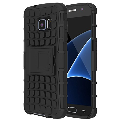 Samsung Galaxy S7 Case,TWOBIU S7 Case Exact TANK Series Shock Proof Tough Rugged Dual Layer Case with Built in Kickstand for Samsung Galaxy S7 [1 Pack] With Lifetime Warraty-Black