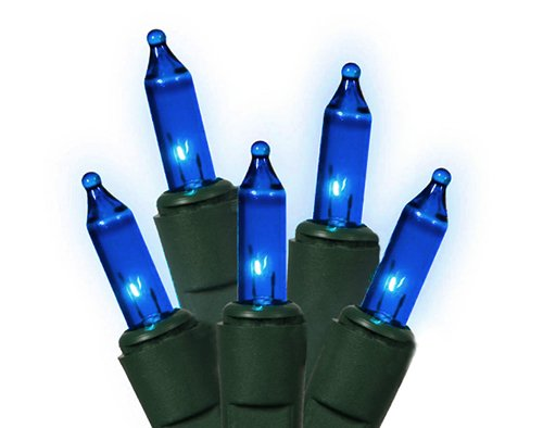 Vickerman 7494891 Blue Mini Christmas Lights with Green Wire, Set of 50